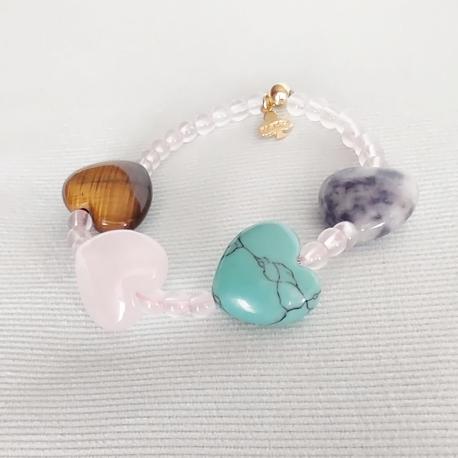 Pulsera Corazones piedras color