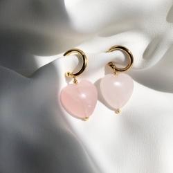 Pendientes arito corazón cuarzo rosa