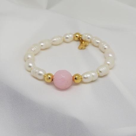 Pulsera niña perlas y cuarzo rosa