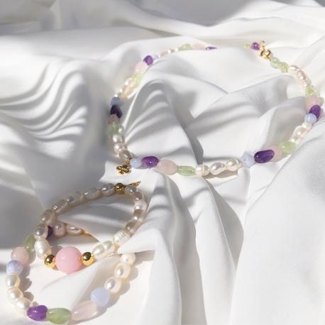 Collar niña perlas y cuarzo color