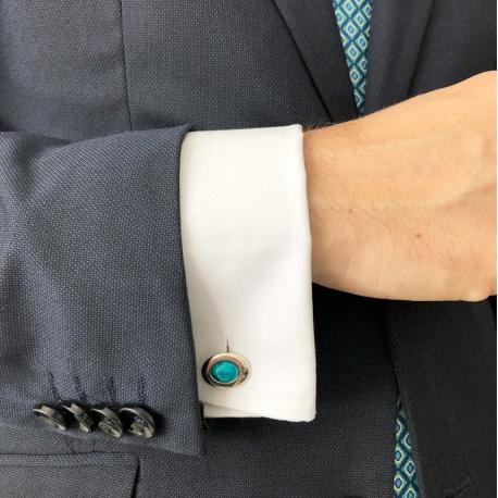 Gemelos de Plata Ovalados azul Índico