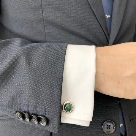 Gemelos de plata redondos verde