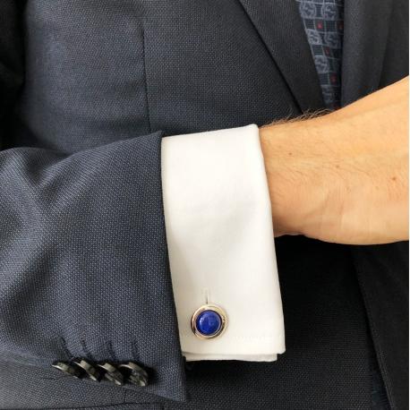 Gemelos de Plata redondos lapislázuli azul