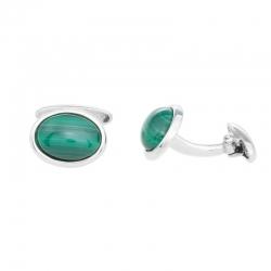 Gemelos de Plata  ovalados con Malaquita verde
