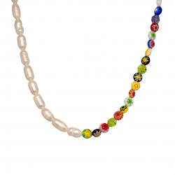 Collar perlas y cristal murano half