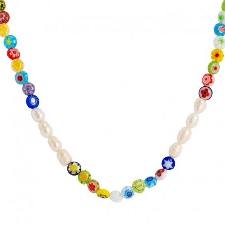 Collar bolitas cristal murano y perlas